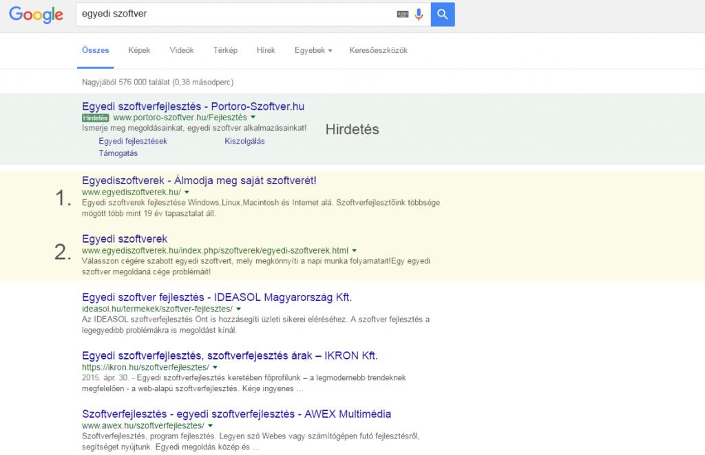 Keresőoptimalizálás: egyediszoftverek.hu